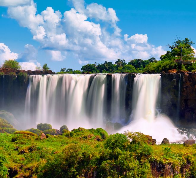 Iguazu waterfalls in Argentina. Panoramic view of several powerf