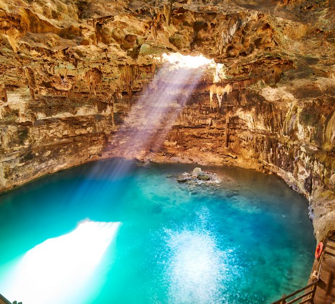 Cenote Samula sinkhole in Valladolid Mexico