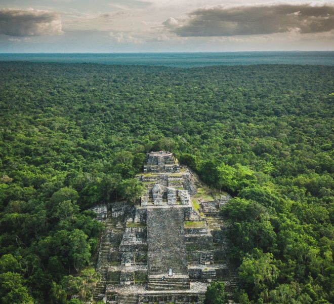 Aerial view of the pyramid, Calakmul, Campeche, Mexico. Ruins of